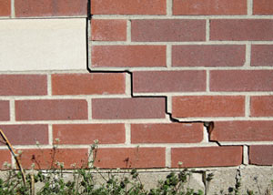 a foundation wall crack on a Redford home.