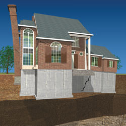 Illustration of a severe foundation settlement issue